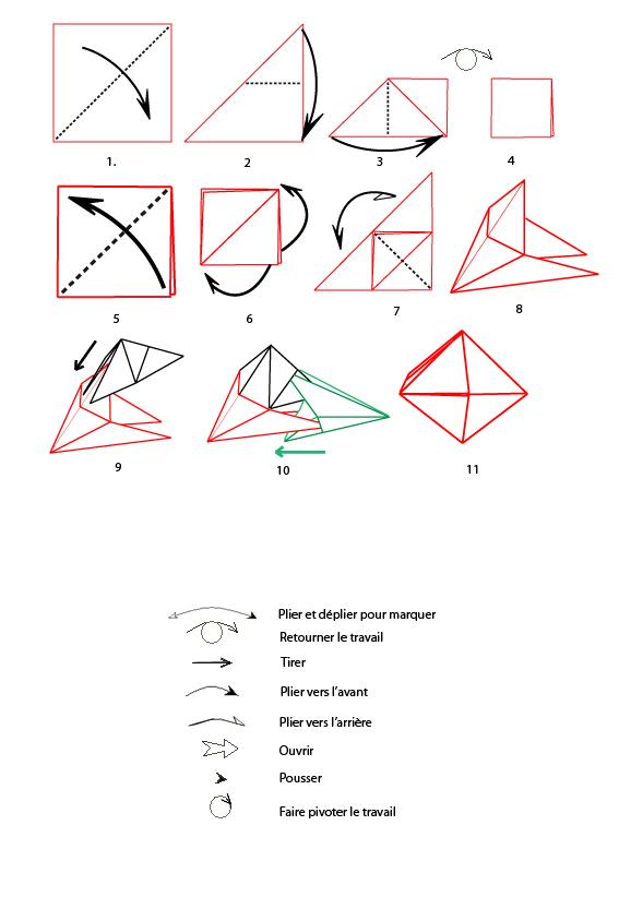 Mod le origami de boule de no l en papier - Origami boule de noel en papier ...
