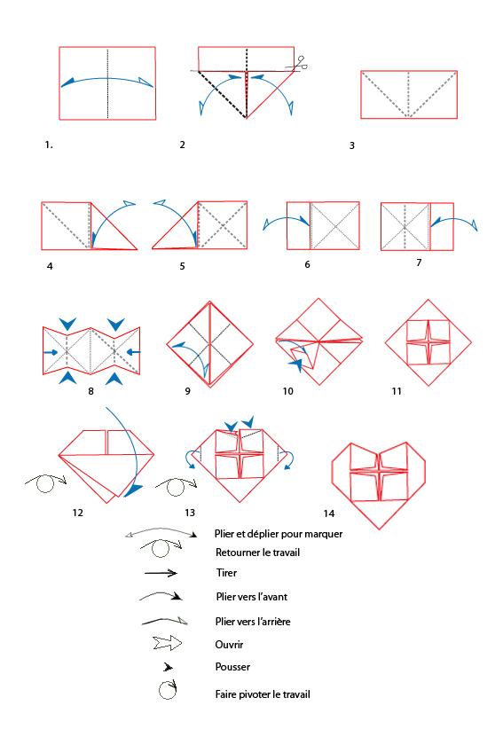 Mod le origami de coeur en papier - Comment fabriquer un coeur ...