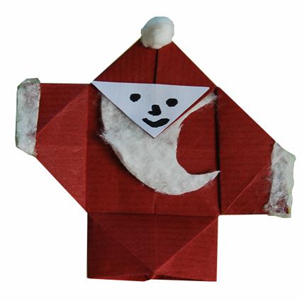 Mod le origami de p re no l en papier - Papier origami noel ...